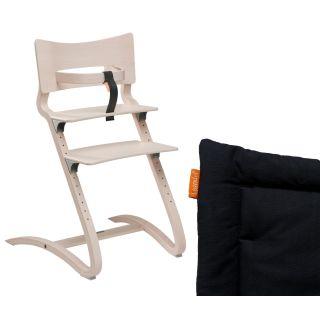 Leander Hochstuhl white-wash mit Sicherheitsbügel und Sitzkissen